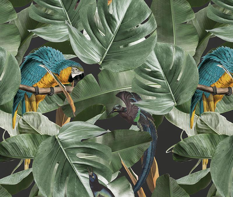 Behang met tropische patronen