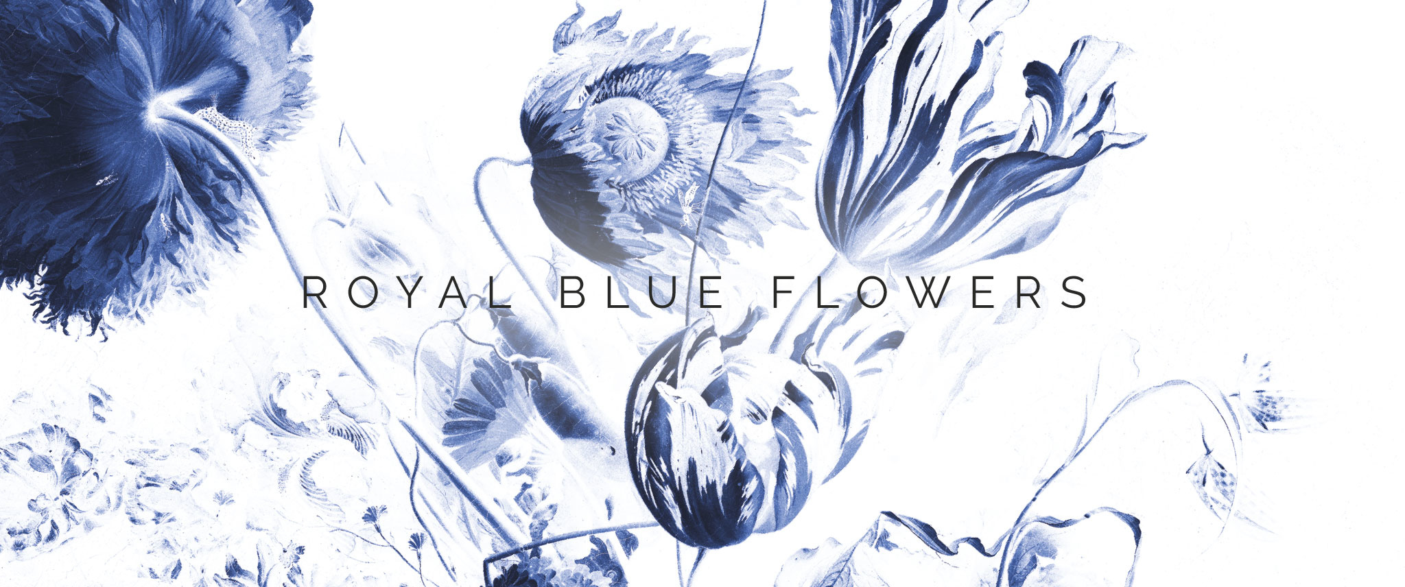 Behang Royal Blue Flowers