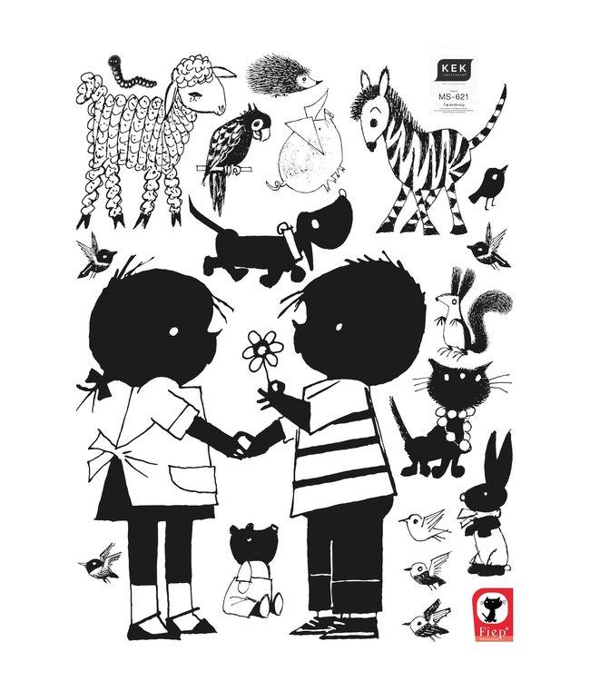 Wall stickers Jip & Janneke, Flower XL, 90 x 120 cm