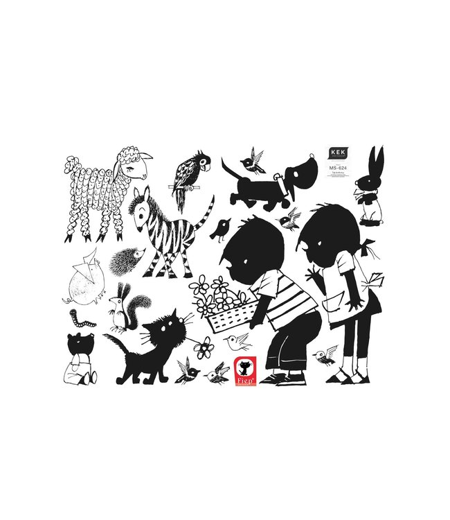 Muurstickers met Jip & Janneke, Flower basket XL, 120 x 90 cm