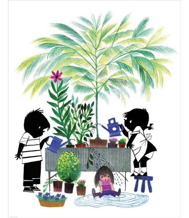 Behangpaneel met Jip & Janneke, Gardening, 142.5 x 180 cm