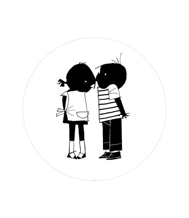 Tapetenpaneel rund Jip & Janneke, Kiss, ø 142.5 cm