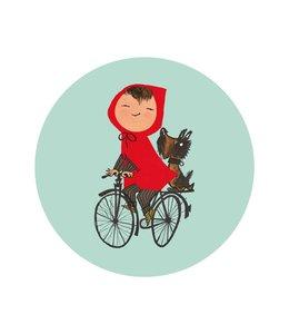 Behangcirkel Riding my Bike, ø 142.5 cm