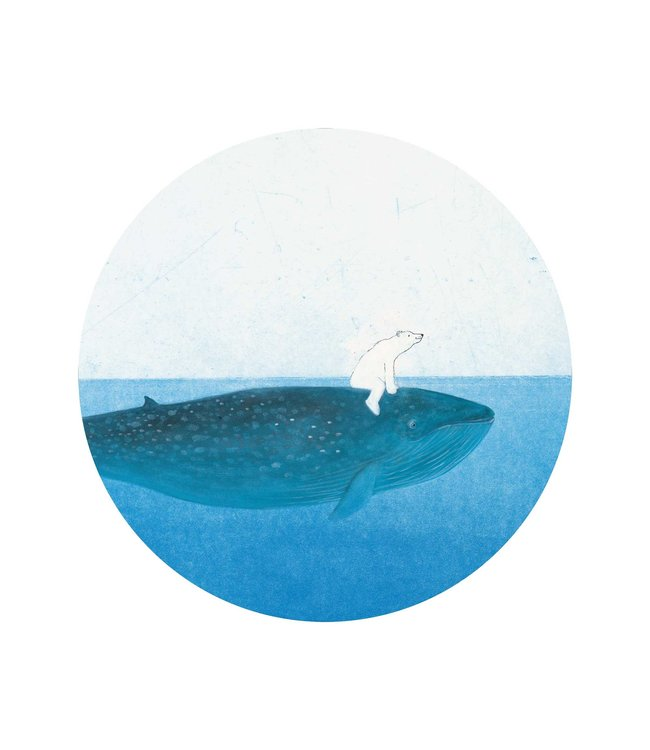 Tapetenpaneel rund Riding the Whale, ø 142.5 cm