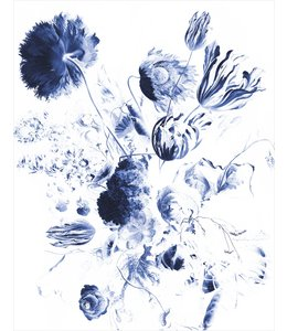 Wallpaper Panel Royal Blue Flowers