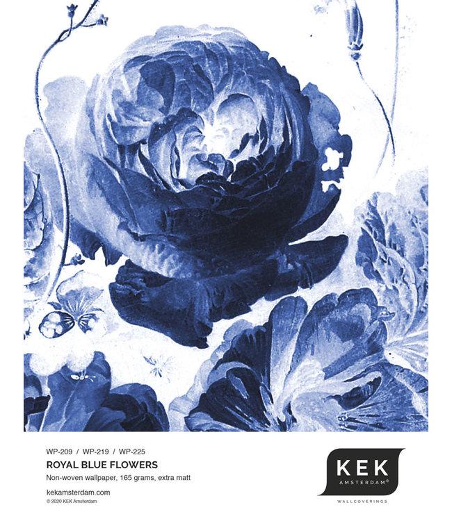 Wallpaper Sample Royal Blue Flowers WP-209 - WP-219 - WP-225