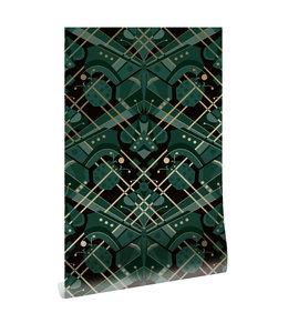 Goud behang Art Déco Animaux, Butterfly, Groen, 50 cm x 10 m