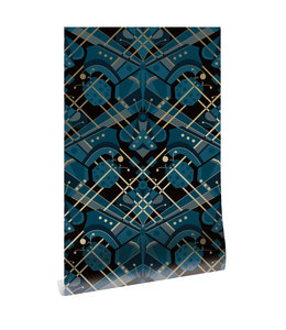 Goud behang Art Déco Animaux, Butterfly, Blauw, 50 cm x 10 m