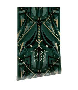 Goud behang Art Déco Animaux, Grasshopper, Groen, 50 cm x 10 m