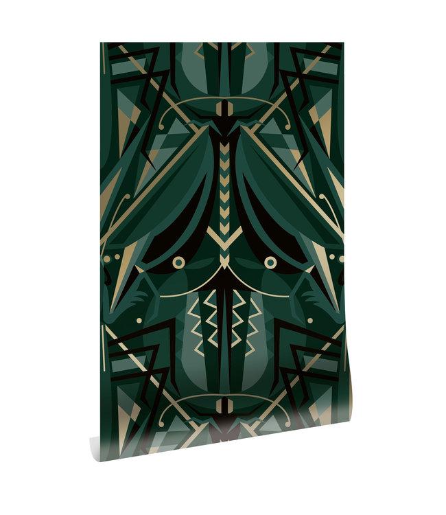 Behang Art Déco Animaux, Grasshopper, Gold Metallic, Groen, 50 cm x 10 m