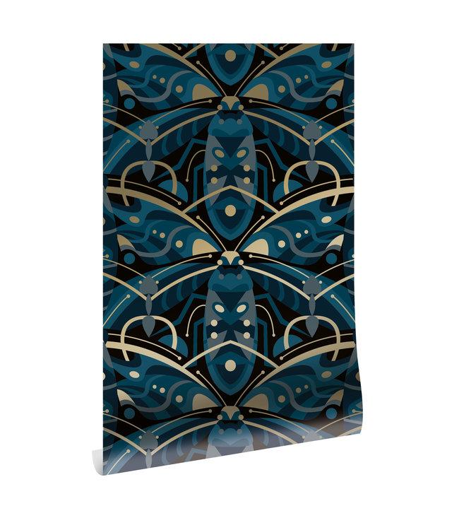 Wallpaper Art Déco Animaux, Beetle, Gold Metallic, Blue, 50 cm x 10 m