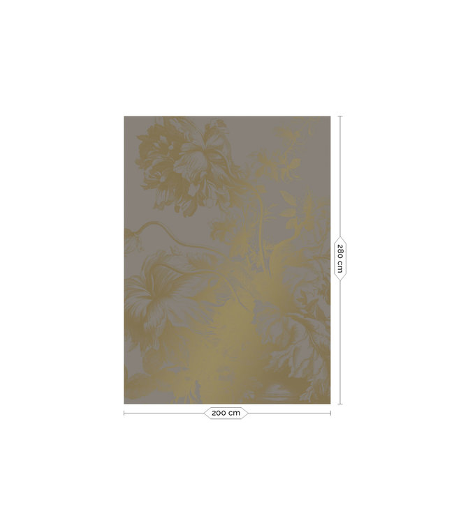 Wall Mural Engraved Flowers Gold Metallic