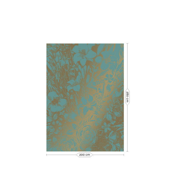 Fotobehang Engraved Flowers Gold Metallic