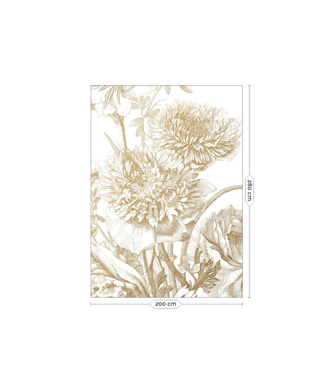 Fototapete Engraved Flowers Gold Metallic