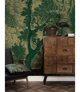 Gold metallic wall mural Engraved Landscapes