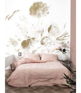 Gold metallics wall mural Golden Age Flowers