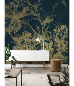 Gold metallic wall mural Engraved Flowers