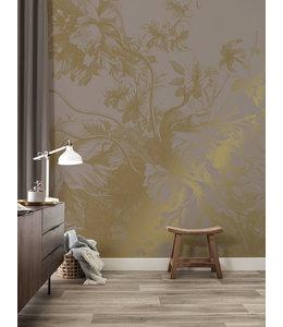 Gold metallics wall mural Engraved Flowers