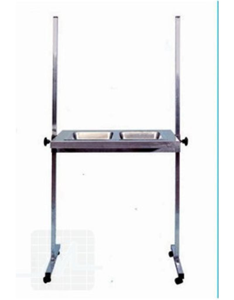 Bijzettafel RVS met 2 trays