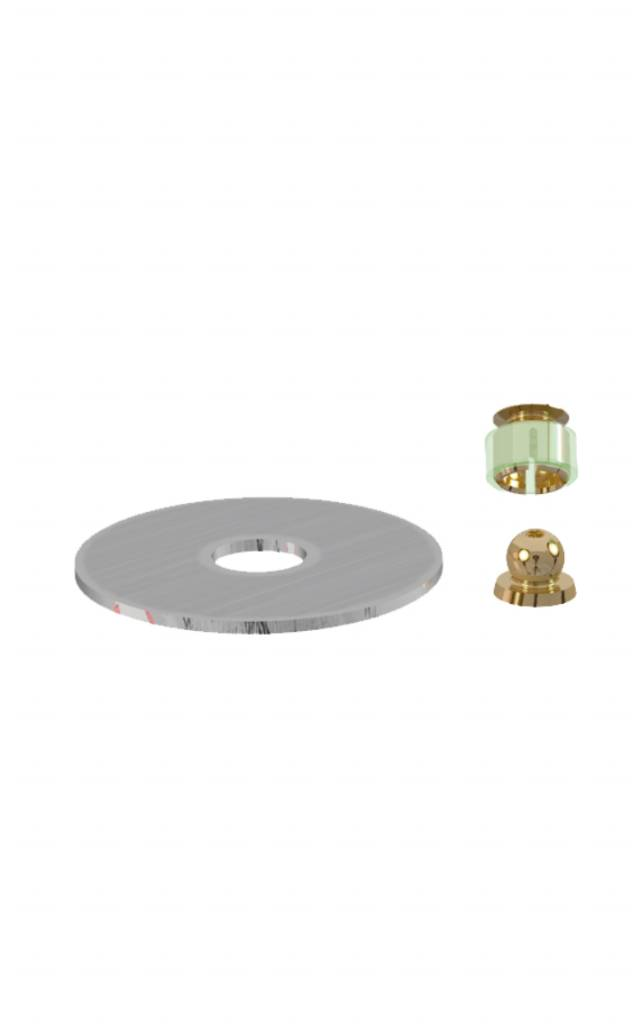 ALPHADENT NV 1201 - PRECI-BALL OR/OR: Matrize zur Verankerung in Kunststoff, Patrize zum Löten auf die Stiftwurzelkappe