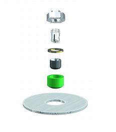 ALPHADENT NV RE 0761 TI - CEKA AXIAL REVERSE M2:  Matrize zum Einkleben in Stiftwurzelkappen oder in Stegkonstruktionen. Patrize zum Löten/Lasern.