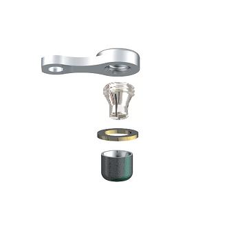 ALPHADENT NV OL 0275 TI CC - CEKA REVAX M3 CAD/CAM: Matrize zum Einkleben, Retention für Kunststoffverankerung mit Extension