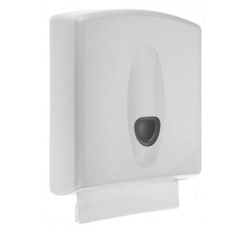 PlastiQline 2020 Distributeur d'essuie-mains midi en plastique blanc
