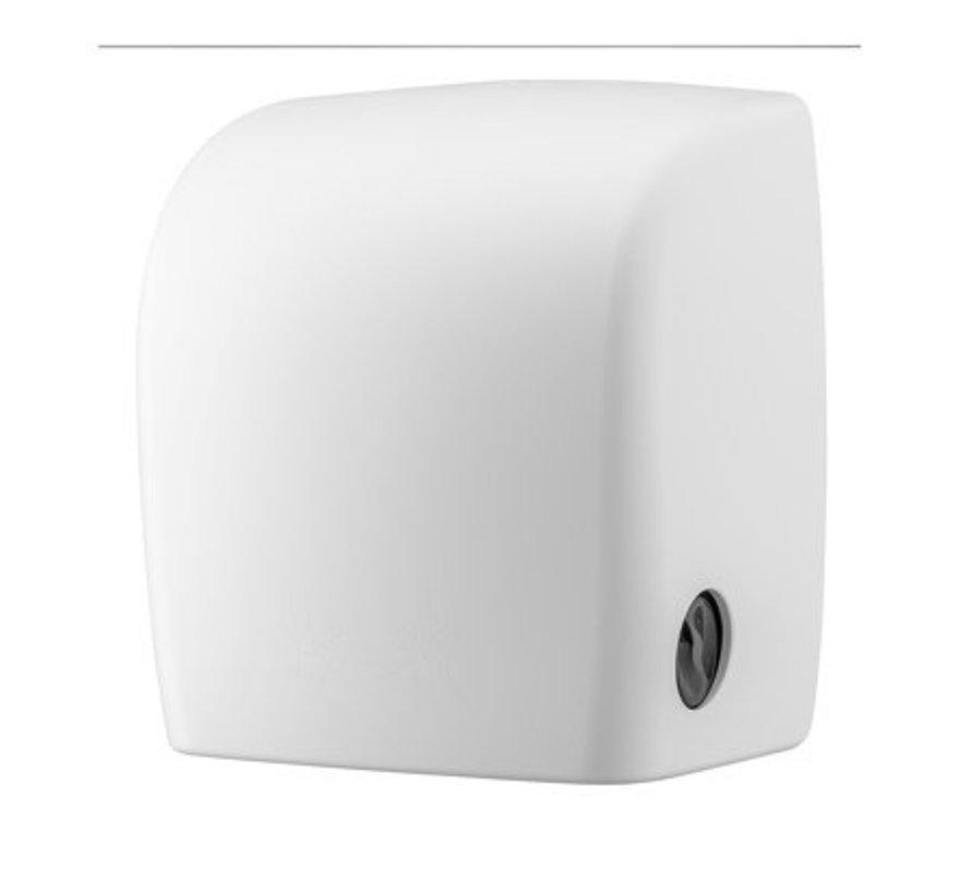 Distributeur de serviettes en plastique blanc + rouleau de repos