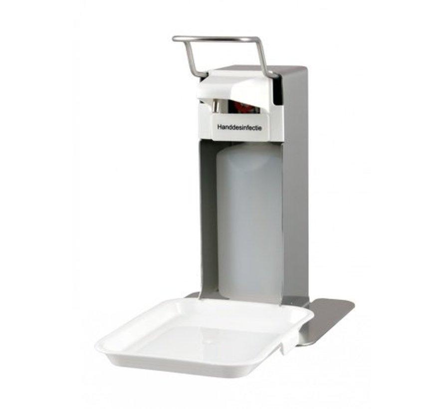 Zeep- & Desinfectiedispenser 500ml RVS + opvangschaal