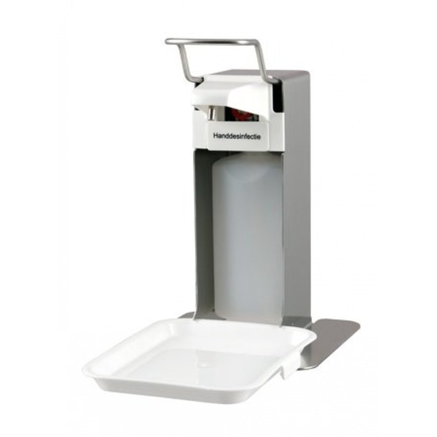 Soap & Disinfection Dispenser 500ml stainless steel + collection tray-1