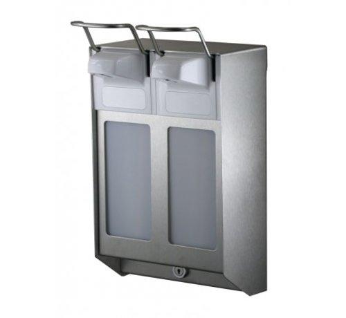 MediQo-line DUO Distributeur de savon et de désinfectant 500 ml en acier inoxydable KB