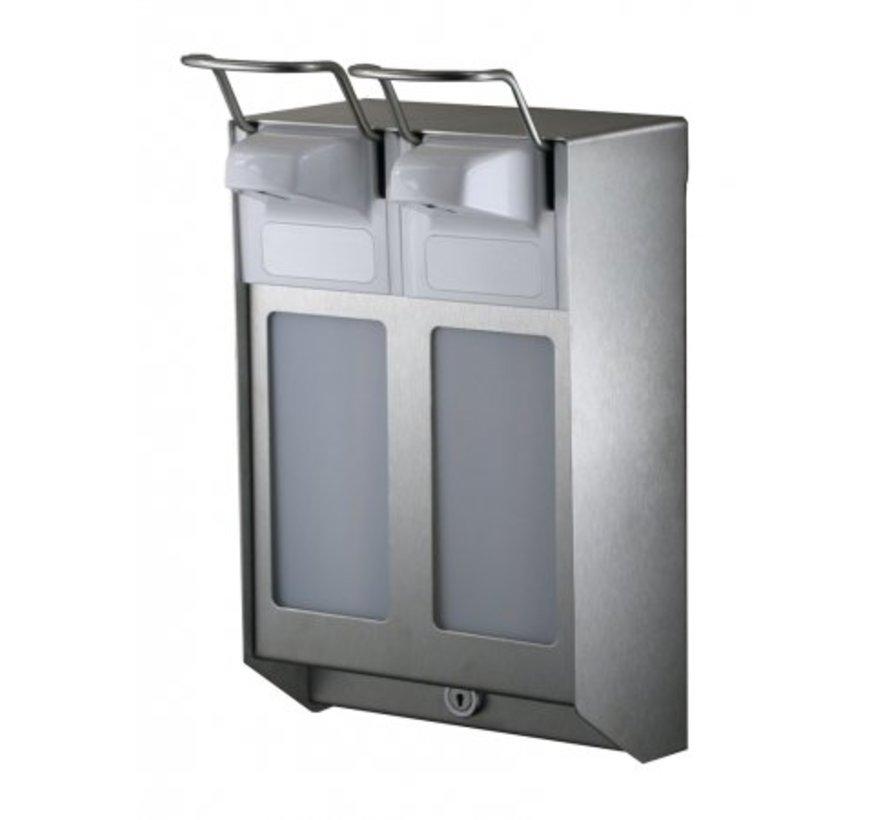 DUO Distributeur de savon et de désinfectant 500 ml en acier inoxydable KB