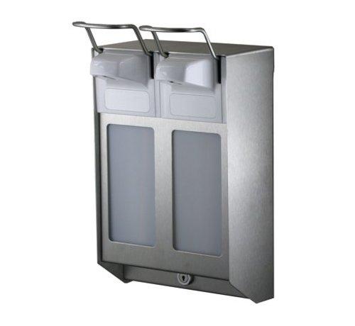 MediQo-line DUO Distributeur de savon et de désinfectant 1000 ml en acier inoxydable KB