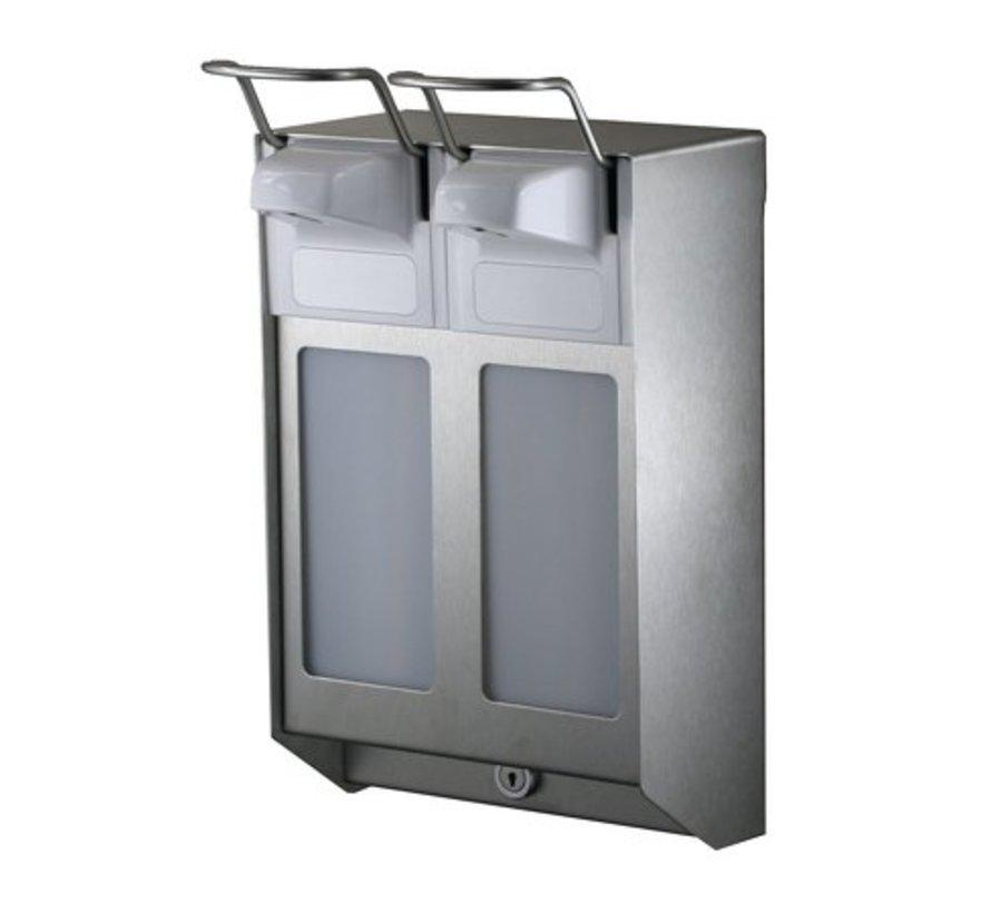 DUO Distributeur de savon et de désinfectant 1000 ml en acier inoxydable KB