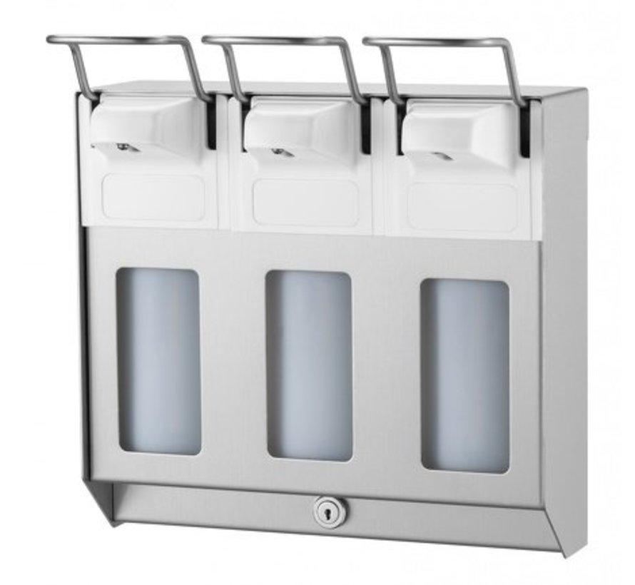 TRIO Distributeur de savon et de désinfectant 500 ml en acier inoxydable KB