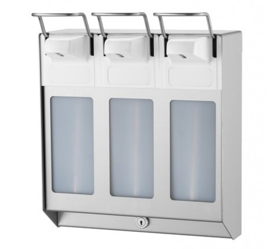 TRIO Distributeur de savon et de désinfectant 1000 ml en acier inoxydable KB