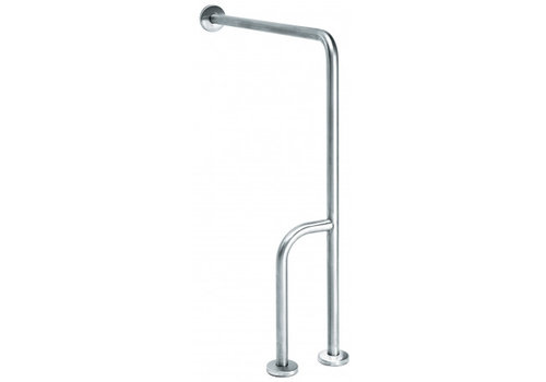 MediQo-line Wall -> floor handle stainless steel with extra rod - right