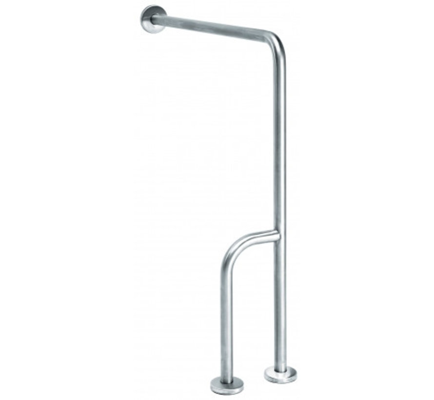 Wall -> floor handle stainless steel with extra rod - right