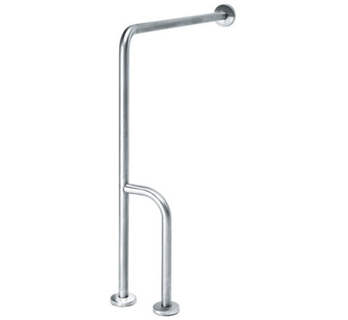 MediQo-line Wall -> floor handle stainless steel with extra rod - left