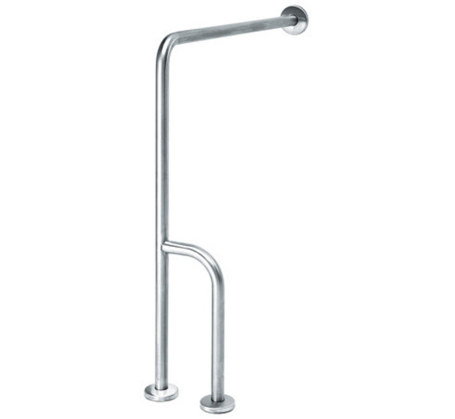 Wall -> floor handle stainless steel with extra rod - left