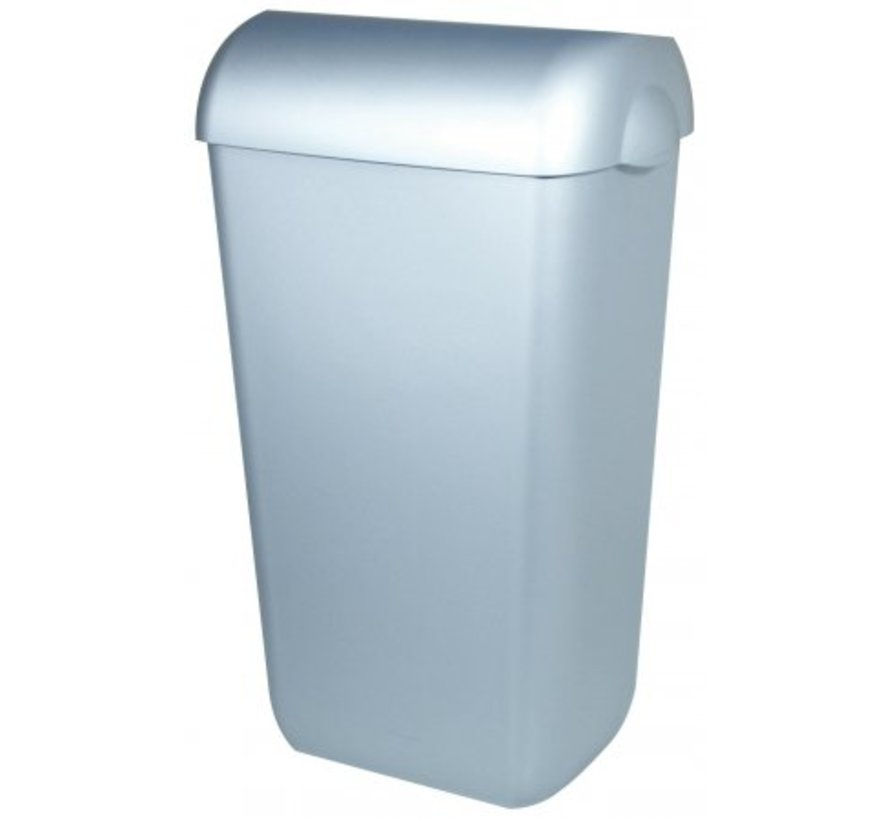 Waste bin plastic stainless steel 43 liters open