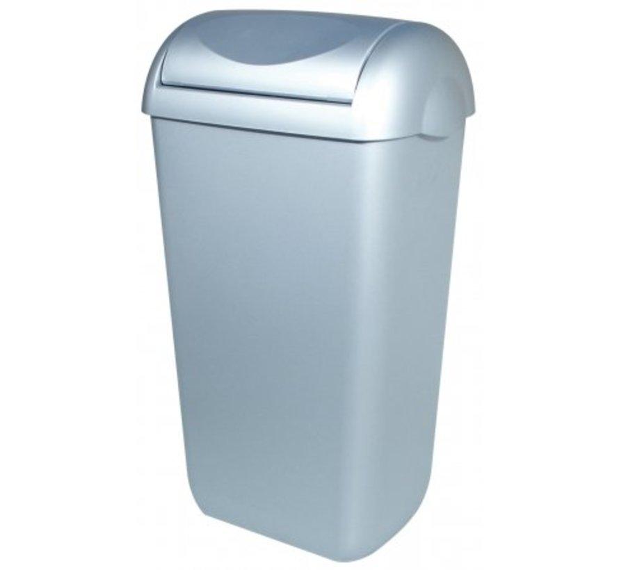 Waste bin plastic stainless steel look 43 liter swing