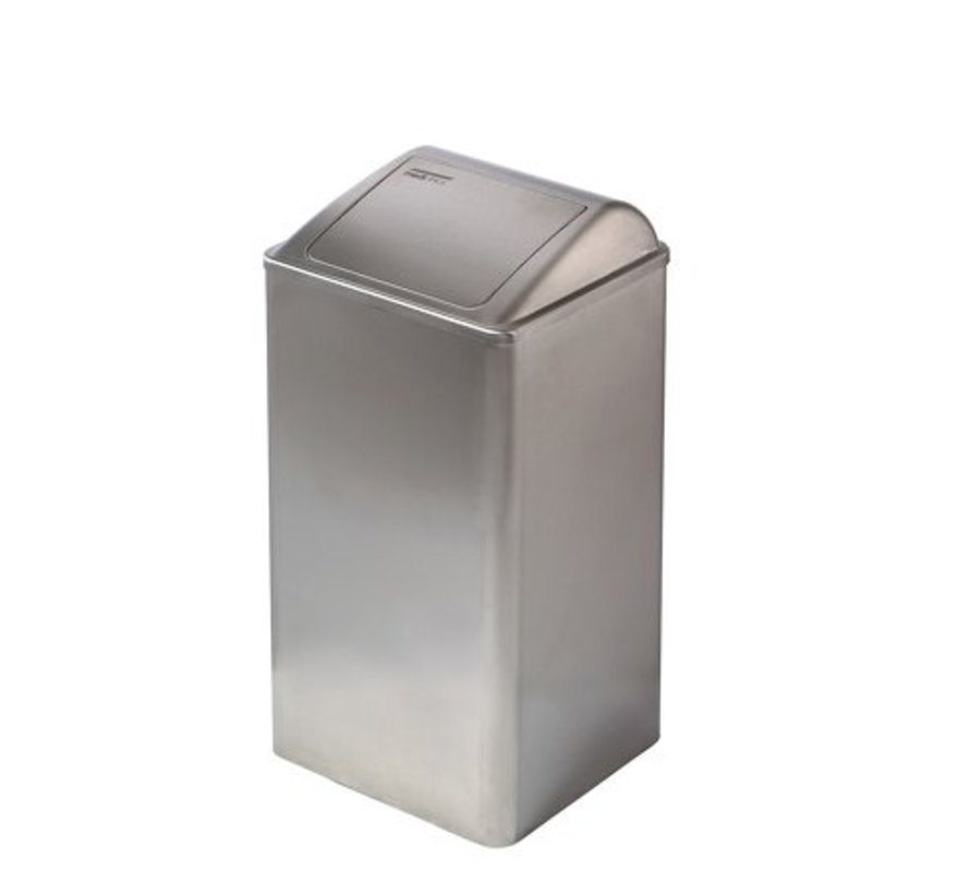 Afvalbak gesloten 65 liter RVS