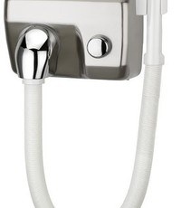 Mediclinics Hairdryer push button stainless steel look with hose