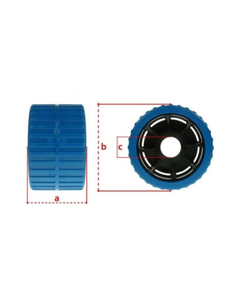 Blue Non Marking Ribbed Wobble Boat Roller 74 x120 x 15mm   Fieldfare Trailer Centre