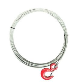 15m Long Winch Cable with Hook 1100kgs