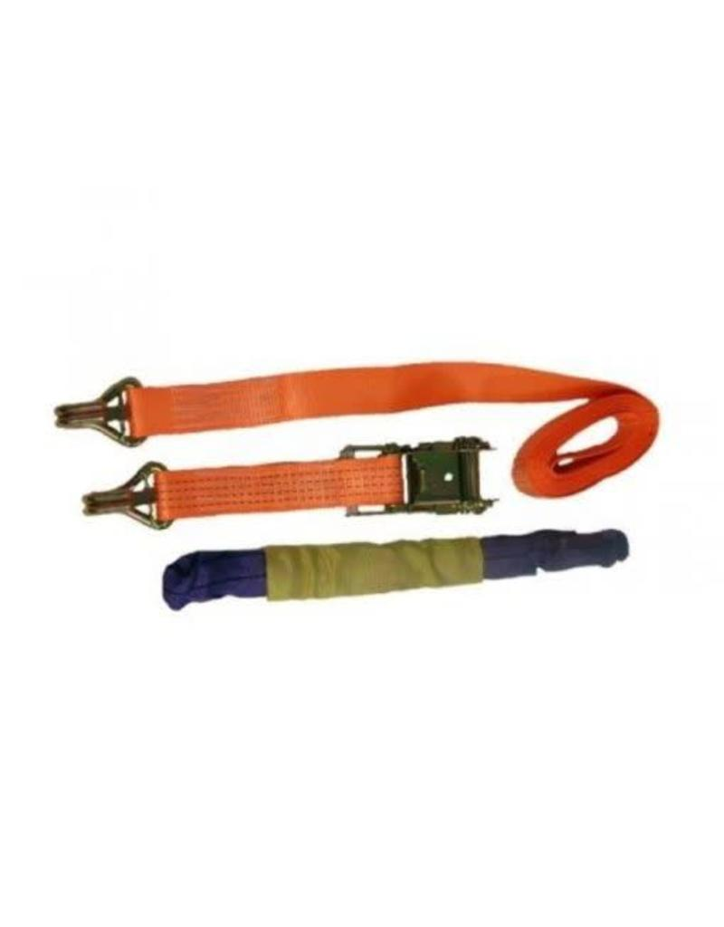 4.8m Ratchet Strap with Claw Hooks AND Soft Link | Fieldfare Trailer Centre