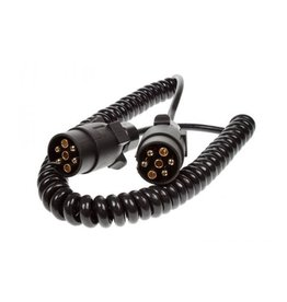 Trailer 2.5m Curly Connecting Lead 12N 7 Pin Plug