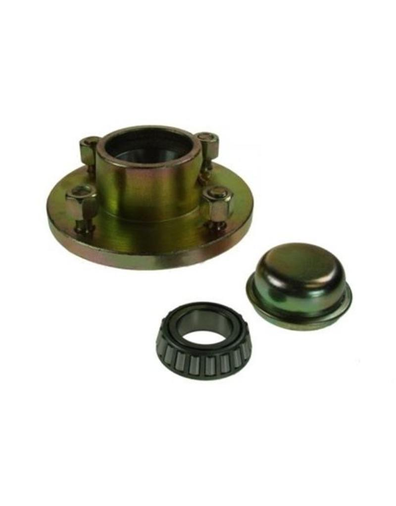 Unbraked Hub with bearings studs 4 Stud 100mm pcd 500kg | Fieldfare Trailer Centre
