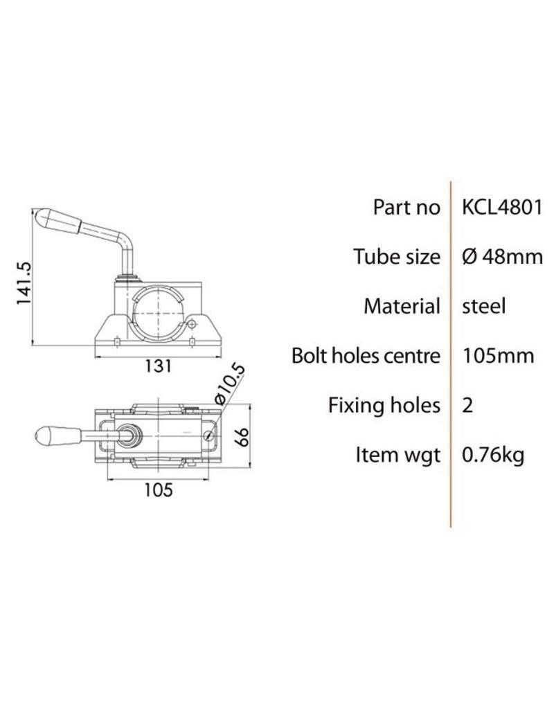 Kartt Orange 48mm Diameter Jockey Wheel Clamp | Fieldfare Trailer Centre